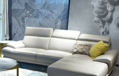 Online Price‼️ Beige GENUINE Italian Leather Sectional - Right Sitting • Delivery • Assembly • Financing ‼️Same as cash for Sale in Las Vegas,  NV