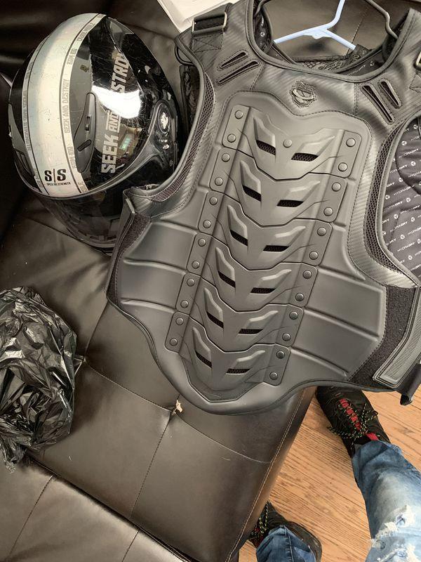 Motorcycle vest + helmet