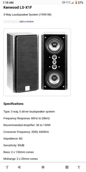 Kenwood THX LS xf1 surround sound speaker set for Sale in Neenah, WI