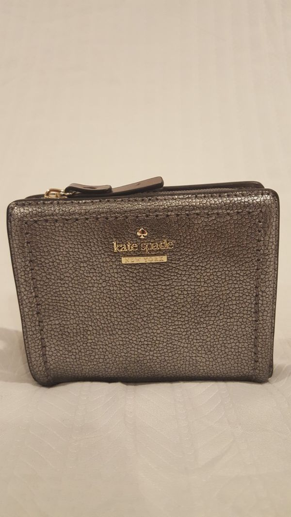 Kate Spade Small Shawn Patterson Drive Pewter Small Wallet Clutch