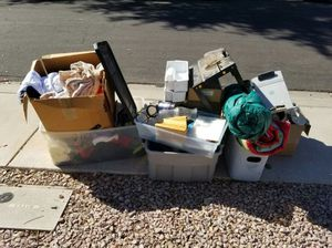FREE sale leftovers, clothes, glassware, small saw table, misc other items for Sale in Gilbert, AZ