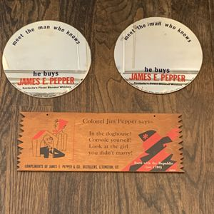 3 Vintage rare James E Pepper whiskey mirrors and wood sign for Sale in Coventry, CT
