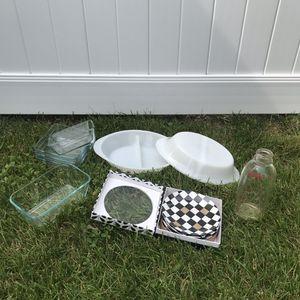 Glassware Vintage + New 12 Pieces Pyrex Glasbake Ikea Macy's Milk Bottle Milk Glass for Sale in Hicksville, NY