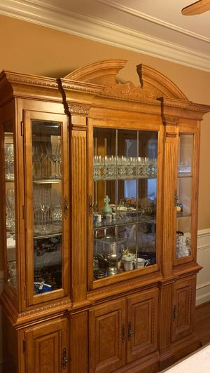 Light brown hutch and buffet for Sale in Alexandria, VA