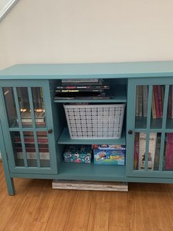 Teal Cabinet w/Storage Shelves for Sale in Carson,  CA