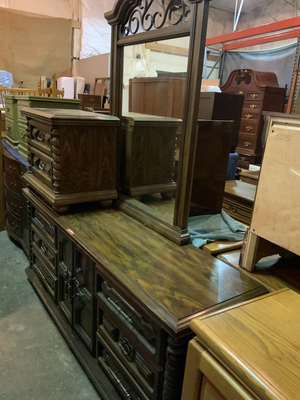 Vintage San Marco Dresser, Mirror, and Matching Nightstand - Delivery Available for Sale in Tacoma, WA