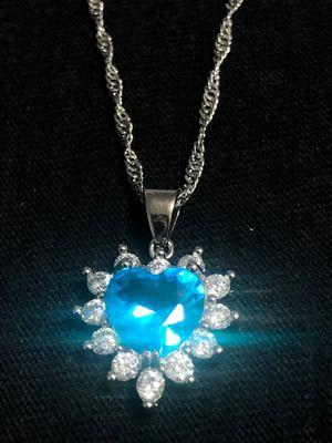Sterling Silver Necklace / Ocean Blue Heart Pendant for Sale in Las Vegas, NV