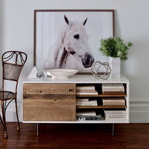 West elm reclaimed wood lacquered media console for Sale in Boston, MA