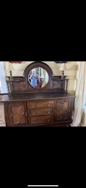 Antique Buffet Cabinet With Mirror for Sale in Murrieta, CA