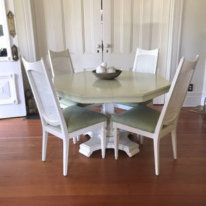 Updated vintage dinette set dining table kitchen table and chairs and extension leaf for Sale in Azusa, CA