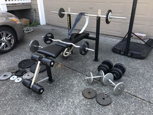 BENCH/WEIGHT SET with Genuine Leather Altus Weight Belt for Sale in Everett, WA