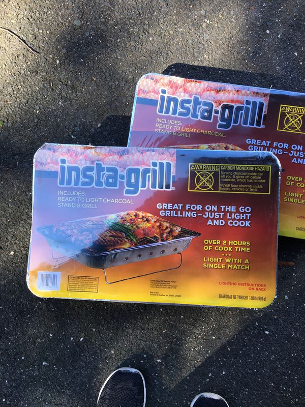 (2) Insta-Grill Portable Disposable Grill with Charcoal. Perfect for picnics/ travel etc