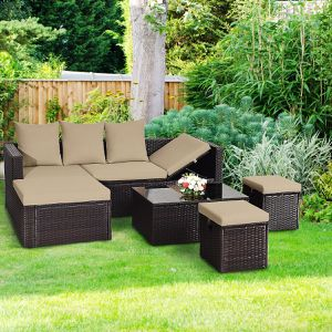 5PCS Patio Rattan Cushioned Conversation Set Home Furniture for Sale in Henderson, NV