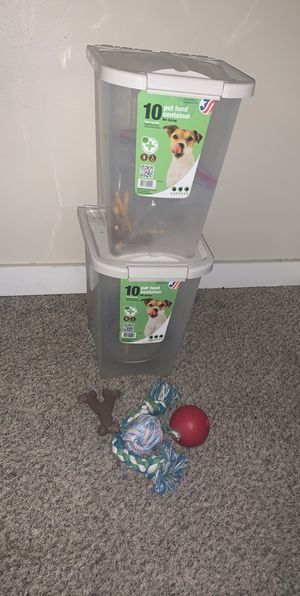 2 pet food containers including dog toys. for Sale in Pasco, WA