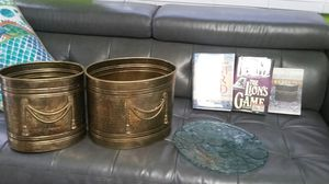All of this for $20 3 great books and a table center plate as well so two beautiful brass buckets for Sale in Hollywood, FL