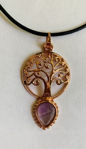 Jewelry necklace amethyst rose gold tone tree of life leather cord for Sale in Worcester, MA