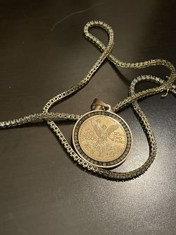 Solid Gold Centenario With Tennis Necklace CC Stones All Around. for Sale in Red Oak,  TX