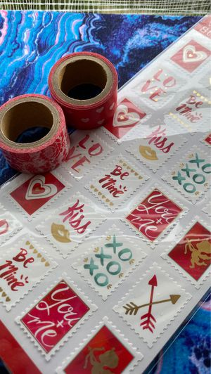 Valentine postage stickers & Washi tape set #33 for Sale in Kettering, MD