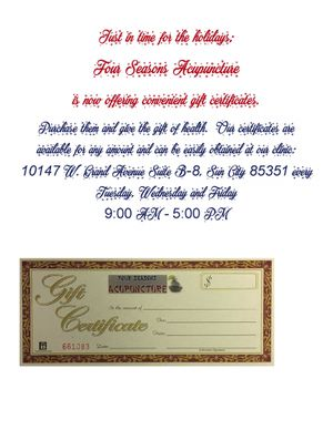 Gift Certificates available for Sale in Sun City, AZ