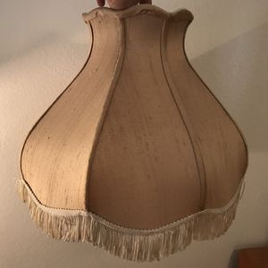 Large dark cream silk fabric vintage Victorian style beige lamp shade with fringe for Sale in Tempe, AZ