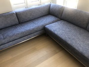 Blue restoration hardware sectional couch for Sale in Brooklyn, NY