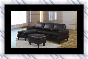 Black sectional with free ottoman for Sale in Fairfax, VA