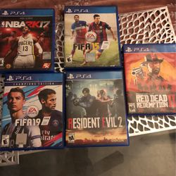 5 PS4 Games Red Dead Redemption 2 for Sale in Los Angeles, CA