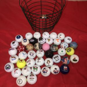 Collectible golf balls, basket, & tee marker. There's about 45 or more golf balls from Alcatraz, San Francisco, Bubba Gump's, Alaska, Mall of America for Sale in Saint Albans, WV