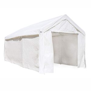 CP1020WH Outdoor Event Carport Garage Canopy Tent Shelter Storage with Sidewalls 10 x 20 x 8.5 Feet White for Sale in Kent, WA