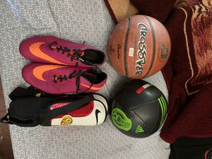 Soccer gear and a basketball for Sale in Jurupa Valley, CA