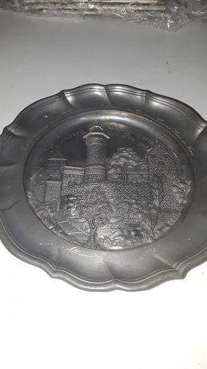 "ANTIQUE 1928 NUREMBURG CASTLE GERMANY PEWTER COMMEMORATIVE PLATE 9"" DIA for Sale in Pompano Beach, FL"