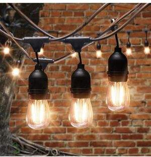 AVAWAY 48Ft LED Outdoor String Lights Waterproof Patio Lights with 15 S14 2W LED Edison Bulbs 15 E26 Sockets for Gazebo Garden Backyard Weddings for Sale in Lexington, KY