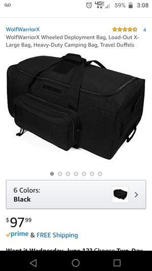 Large black military issue rolling duffle bag for Sale in Jacksonville, FL