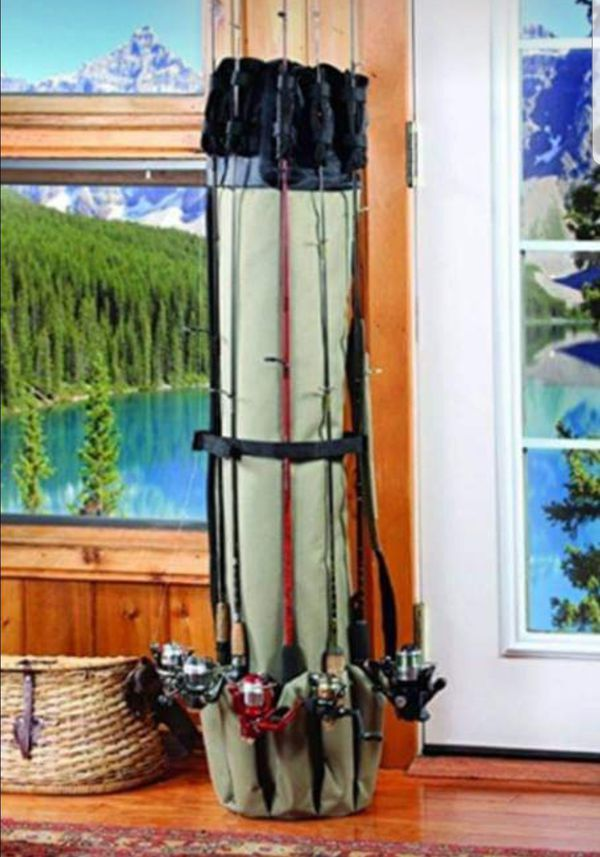New Fishing Rod and Reels Carrying Case Storage Equipment Travel Bag Holder for 5 rods and tackle