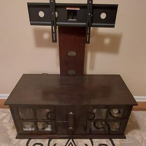TV Stand With Double Drawers And Double Shelf With Flat TV Mount. Dark Brown for Sale in Raleigh, NC