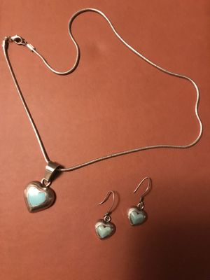 Necklace with Charm and earring set - Sterling Silver 925 for Sale in Los Angeles, CA