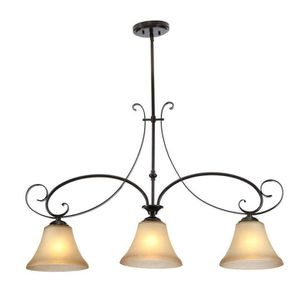 Hampton Bay Essex 3-Light Aged Black Island Pendant with Tea Stained Glass Shade for Sale in Houston, TX