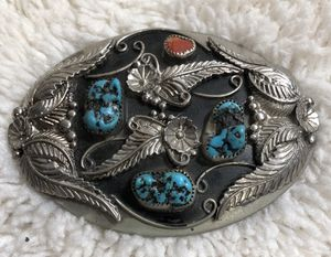 GORGEOUS VINTAGE TURQUOISE/CORAL & SILVER BELT BUCKLE for Sale in Tempe, AZ