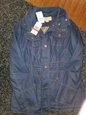 Brand new navy blue XS Michael Kors anorak jacket w/gold accents for Sale in Puyallup, WA