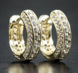 MENS Adult ICED 14 KT GOLD GP DIAMOND HOOP SET NEW BOX!! for Sale in Kansas City,  MO
