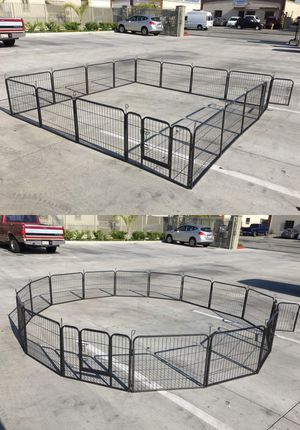 Brand new 24 inch tall x 32 inches wide each panel x 16 panels heavy duty exercise playpen fence safety gate dog cage crate kennel expandable fence p for Sale in Baldwin Park, CA