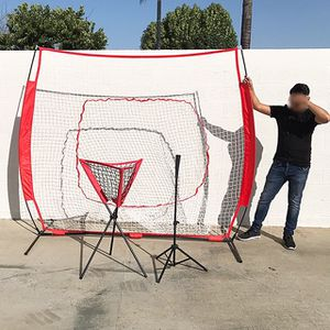 (NEW) $90 Baseball Practice (3pc Set) includes the 7'x'7 Net Bow Frame, Ball Tee and Caddy Bag for Sale in South El Monte, CA
