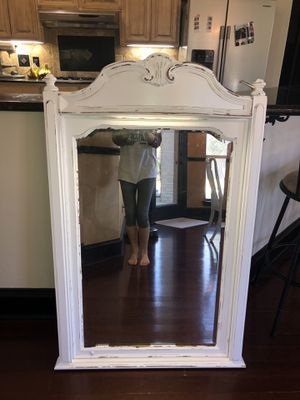 Solid wood farmhouse cottage shabby chic rustic vintage French provincial country mirror with light for Sale in Southlake, TX