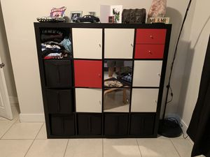 Expedit / Kallax ikea shelf with 8 doors and two small drawer inserts for Sale in Miami, FL