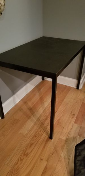 Black Dinning table with TWO orange chairs for Sale in Philadelphia, PA