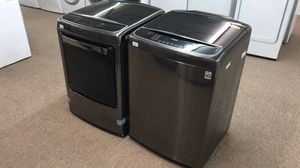 over $2000 retail cost. Never used LG black stainless top load set with steam. Take home for only $50 down! for Sale in Houston, TX