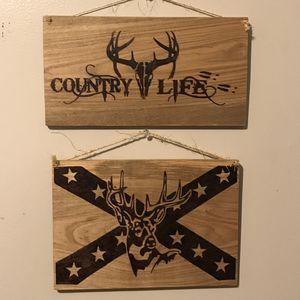 Country Life Flag Buck Deer Hand Burned Wood Sign Bundle for Sale in Lester, WV