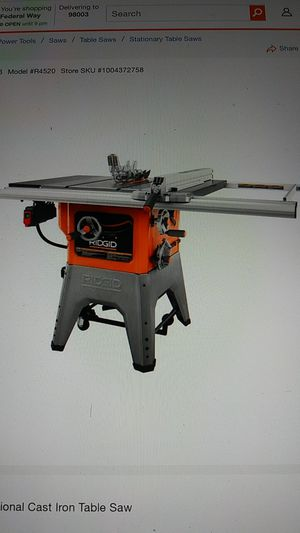 "Ridgid 10"" table saw for Sale in Puyallup, WA"