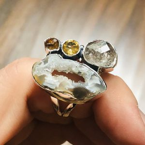 Coconut Geode Druzy, Herkimer Diamond, & Citrine 925 Ring for Sale in San Francisco, CA