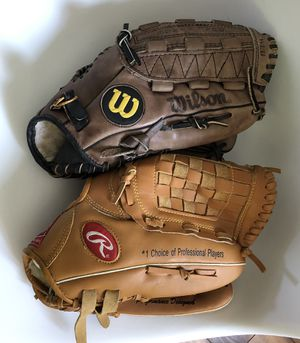 "2 Junior Genuine Leather Baseball Gloves 12"" Wilson Rawlings for Sale in Tinton Falls, NJ"